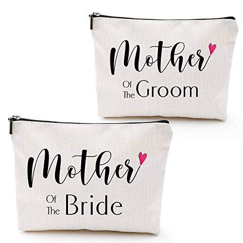 Mother of Bride and Groom, 2 Pieces,Unique Wedding Favor Gifts For Parents - Engagement Gifts For Mother In Law and Brides Mom-Makeup Bag