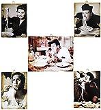 KUSTOM ART 5 cuadros de estilo vintage con los famosos actores Sordi/Celentano/Sofia Loren/Totò/Fernandel– Impresión sobre madera para decoración de restaurant pizzeria bar hotel