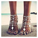 Olbye Silver Barefoot Sandals Foot Chain Jewelry Coin Anklet Bracelet for Women and Girls Beach Wedding Foot Jewelry Pack of 2 (Silver)