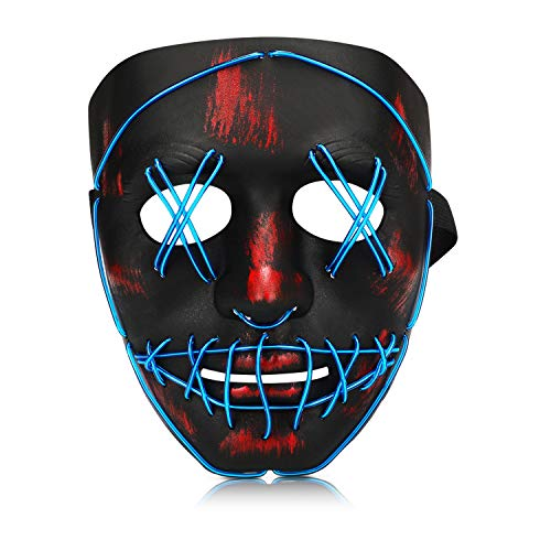 Halloween Purge Mask, Led Light Up Glowing Scary Mask with EL Wire for Kids Adults Costume Cosplay (Blue)