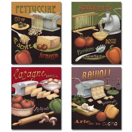 Set of 4 Pasta Prints Italian Kitchen Spaghetti Ravioli Daphne Brissonnet 8x10