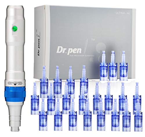 Dr. pen Ultima A6 Microneedling pen 24 Pcs Pin & Nano cartridges, 10 x 36-pin, 14 x Nano & 12 series mixed