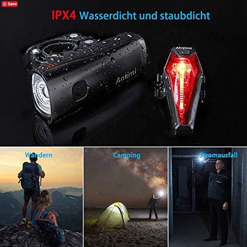 Antimi LED Fahrradlicht Set【Neueste Modell】, StVZO Zugelassen USB Wiederaufladbar Fahrradlichter Fahrradlampe Set, IPX5 Wasserdicht Frontlicht & Rücklicht Lampenset mit Samsung 2600mAh Li-ion Akku - 3