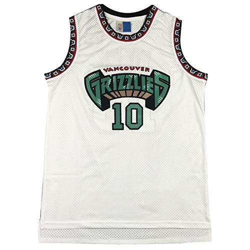 CLKI Grizzlies #10 Bibby - Camiseta de baloncesto para hombre, chaleco retro, sin mangas, secado rápido, transpirable, malla deportiva (S-2XL), color blanco y XL