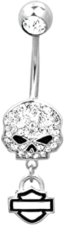 Harley-Davidson Women's Belly Jewel, Bling Willie G Skull, Silver HDZ0057