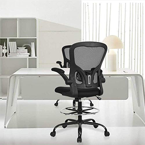 Tall Office Drafting Chair Mesh Ergonomic - Sit Stand Chair Executive Rolling Swivel Computer Task Chair with Back Support for Standing Desk Stool with Adjustable Foot Ring and Flip-Up Arms