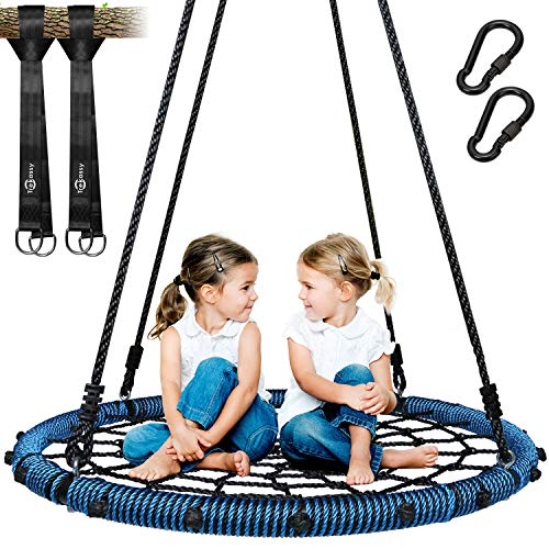 Trekassy 750 lb Spider Web Swing 40 inch for Tree Kids with Steel Frame and 2 Hanging Straps