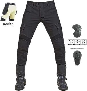 WCCI Vaqueros de moto para hombres - Kelvar - Protección Aramid Motocicleta Pantalones Biker Pants (Negro, XL=36.5