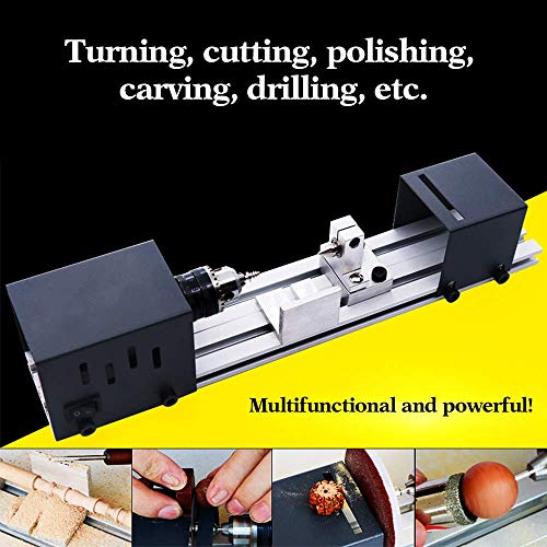 ETE ETMATE 200W Mini Lathe Beads, DIY Working Wood Lathe Milling Machine DIY Grinding Polishing Beads Drill Rotary Tool Set Lathe Set