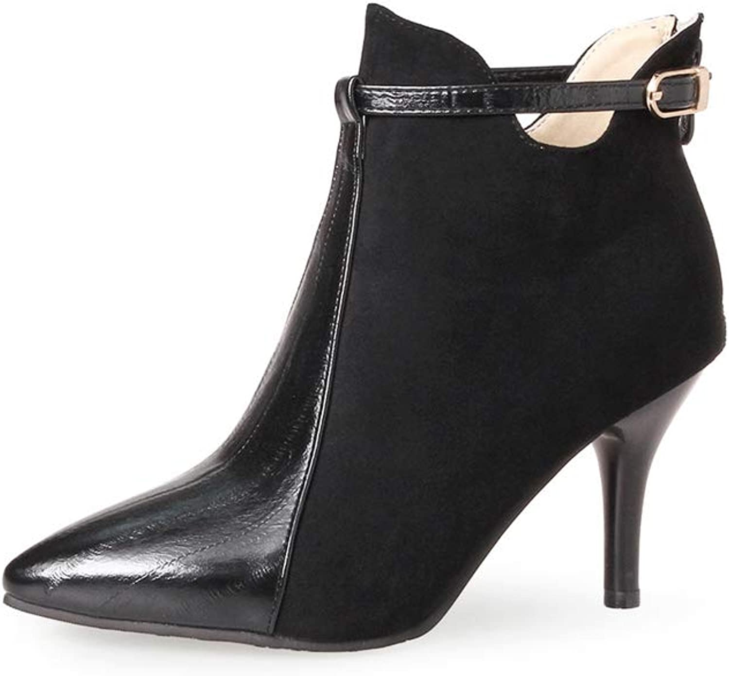 Btrada Womens Fashion High Heels Ankle Boots Sexy Pointed Toe Back Zipper Dress Pumps Wedding Booties