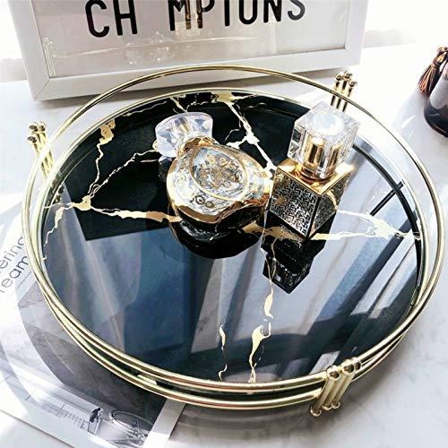 YLJR Bandejas cosméticos bandeja para espejo de cristal templado mármol europeo bandeja...