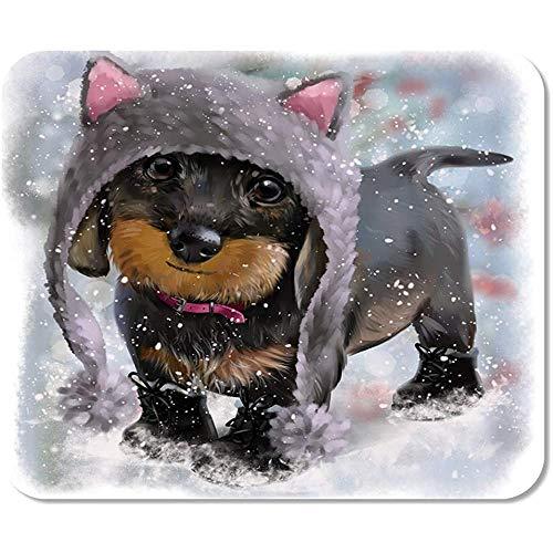 Mousepad hond teckel aquarel schilderij dier schattig grappige hoed puppy spel office werk muis mat speciale muismat anti-slip muismat gedrukt kleurrijke school 25 X 30 cm
