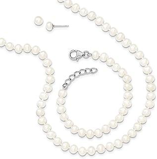 Sterling Silver 4-5mm Freshwater Cultured Pearl 14/1inch Neck 5/1in Bracelet Earrings Set
