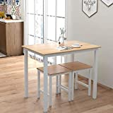 MIERES Small Dining Table Set for 2, Home Kitchen Furniture Perfect Choice, Compact & Durable, Easy Assembly, White Beige, with 2 Stools