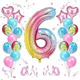 KATELUO Globo de Cumpleaños 6 Años, Decoración de Cumpleaños 6 Años, Globo Numero 6 Gigante, Cumpleaños Globos 6 Años Niña, Globos de Cumpleaños Niña 6 Años para Fiestas de Cumpleaños
