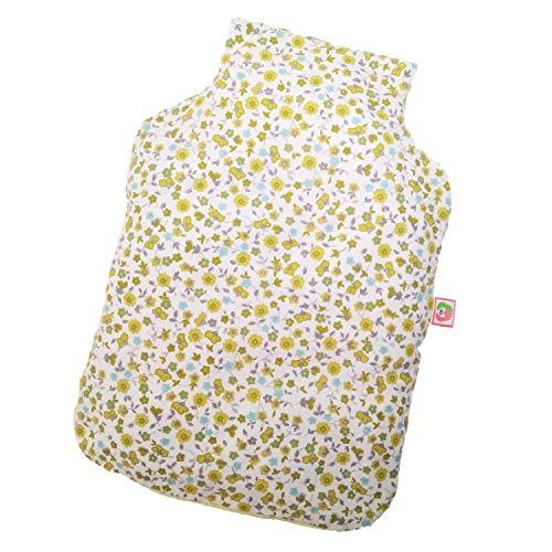 Saco Térmico Semillas con Forma Botella de Agua Caliente - Bolsa de Calor para Microondas (32x22 cm) - Cojín de Semillas con Funda Lavable, Tela Algodón 100%, Olor Lavanda (Flores)