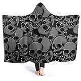 Manta con Capucha de los Hombres de Las señoras Hooded Blanket Poncho Wearable Wrap with Soft Flannel Fleece Plush Warm Sherpa Throw Blanket for Children Adults A Lot of Skulls 50*40