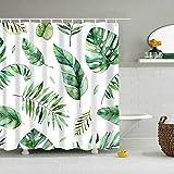 XCBN Cortinas de Ducha de Plantas Tropicales Verdes, Cortina de Ducha Impermeable para baño, Cortinas Estampadas de Hojas para Ducha de baño A3 150x180cm