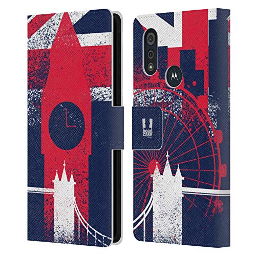 Head Case Designs Landmarks London Best Leather Book Wallet Case Cover and Matching Wallpaper Compatible with Motorola Moto E6s (2020)