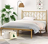 SHA CERLIN Full Size Bed Frame with Vintage Headboard, Metal Platform Bed with Round Posts, 12' Under Bed Storage, Noise Free, No Box Spring Needed, Gold