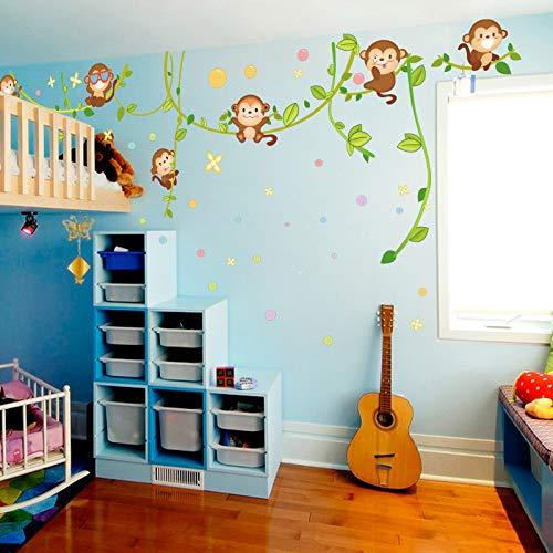Autocollant Mural Happy Monkey Home Store Décor Diy Amovible Art Vinyle Mural pour Chambre D'enfants Maternelle Salon