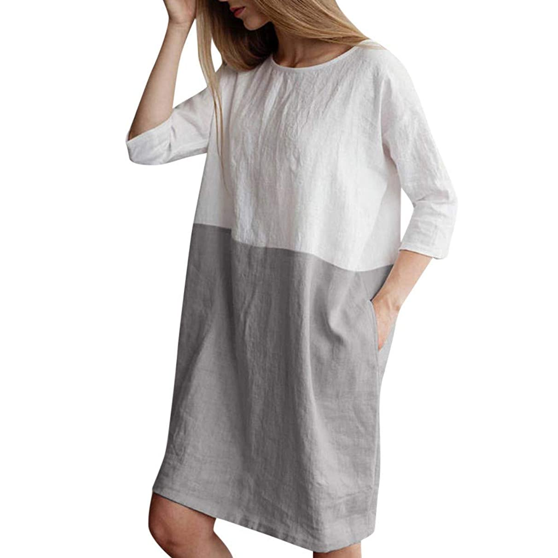 NEEKEY Women Casual Patchwork 1/2 Sleeved Cotton Linen Oversize Loose Pockets Neutral Knee-Length Dress Tops