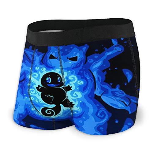 Yellowbiubiubiu Anime Pikachu Squirtle Herren Unterwäsche Stretch Boxershorts für Männer Kurze Bein Unterhose Atmungsaktiv Bequeme Faser Pack Gr. M, Schwarz