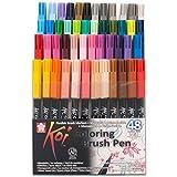 Sakura KOI Coloring Brush Set 48 - Pack de 48 rotuladores, Punta pincel
