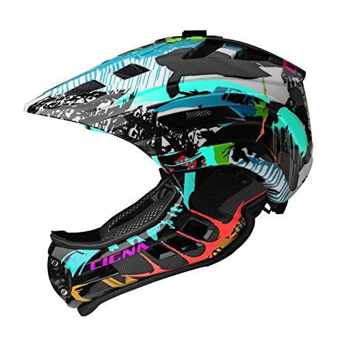 MOKFIRE Kids Full Face Helmet - Casco Bici Bimbo Mentoniera staccabile Ricaricabile Luce Sport Camera Mount Bike Helmet Boys Girls 2 Sizes