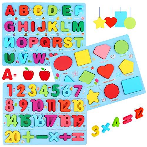 Fisasa モンテッソーリ 木製パズル A・B・C 英語 アルファベッ 木のおもちゃ 積み木 人気 おもちゃ 数字学習 知育玩具 教育おもちゃ 型合わせ はめこみ ベビー 赤ちゃん 幼児 子供 男の子 女の子 子ども 教材 誕生日 クリスマス プレゼント