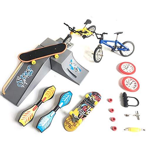 17 Stücke 2021 Neueste Mini Fingerspielzeug Set für Kinder Erwachsene, Finger Fahrrad Roller Winziges Schaukelbrett Fingerspitzen Bewegung Party Bevorzugt mit Ersatzräder und Werkzeugen (CDH-4A)
