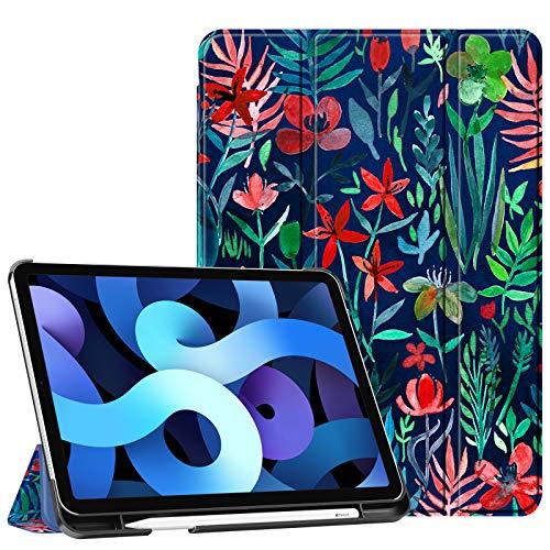Fintie Hülle für iPad Air 4. Generation 10.9 2020 (Kompatibel mit 2. Gen Pencil, kabelloser Ladefunktion) - Leichte Stand Schutzhülle mit eingebautem Pencil Halter, Auto Schlaf/Wach, Dschungelnacht