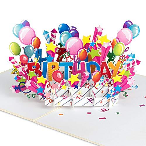 """PaperCrush® Pop-Up Karte Geburtstag """"Happy Birthday"""" [NEU!] - 3D Geburtstagskarte für Kinder und Teenager, Geschenkkarte für Mädchen und Jungen - Popup Glückwunschkarte zum Kindergeburtstag"""