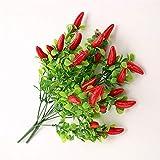 BHSHUXI 10 piezas de plástico rojo pimiento ramo, planta de pimienta roja artificial, plástico, pimienta, fruta, chile, ramo de verduras falsas