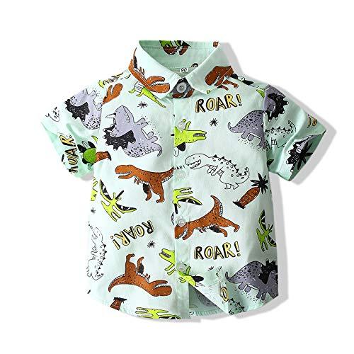 Tommelise Baby Boys' Floral Cotton Casual Button Down Short Sleeve Hawaiian Shirt (Dinosaur 2, 110(3-4Y))