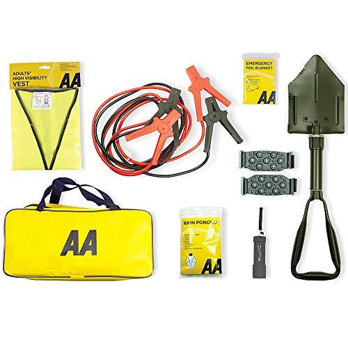 AA Emergency Winter Car Kit AA5281 - Folding Snow Shovel, 9-LED Torch, Foil Blanket, Hi-Vis Vest, Rain Poncho, Booster Cables, Pair Snow Grips