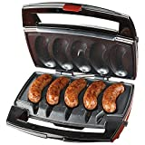 Goodyusstore, Compact Design, Optimal Temperature, Sizzling Sausage Indoor Compact Stainless Electric Grill, Thoroughly Cooked and Evenly Browned, Easy Cleanup (L X W X H) 13.5 x 13.5 x 7 Inches