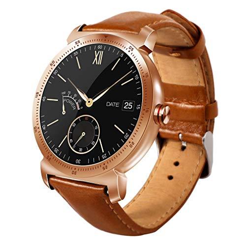 K88H Plus Round Screen Watch Smart Watch Touch Screen Smart Watch Gold&Brown Belt
