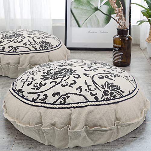 Boho Floor Pillow Meditation Cushion, 22' Large Floor Cushions Round Bohemian Meditation Pillow with Removable Pillow Case Cotton Linen Comfortable Seating Cushion for Living Room Garden Patio