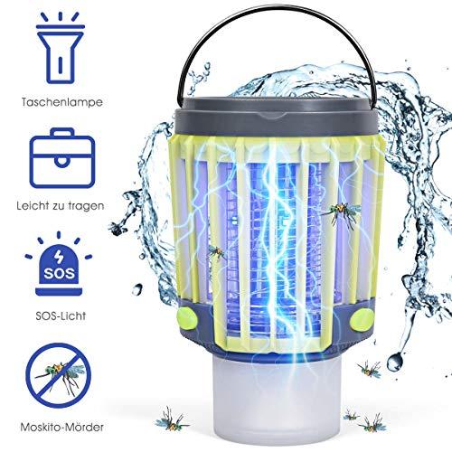 COSTWAY 3-in-1 Insektenvernichter Solar-Campingleuchte Mückenkiller Taschelampe Mückenlampe mit Notlicht wasserdicht Für Camping, Wandern, Angeln