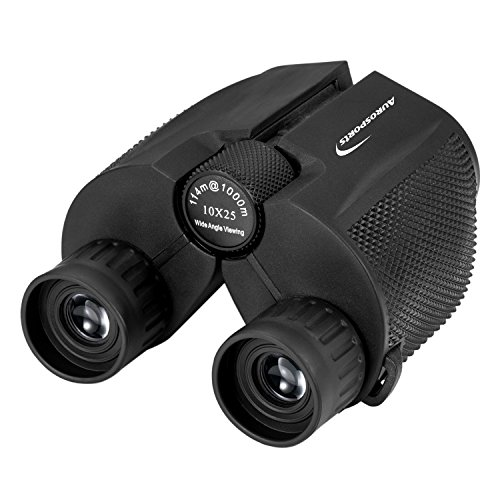 Aurosports 10x25 Binoculars for Adults and Kids, Folding Compact Binocular with Weak Light Vision, Lightweight Small Binoculars for Bird Watching, Travel, Concerts, Hunting, Hiking