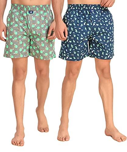 UZARUS Men's Printed Boxer Shorts 100% Cotton, Green & Grey,...