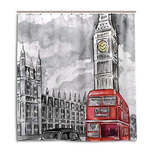 BIGJOKE Duschvorhang, London Big Ben Art, schimmelresistent, wasserdicht, Polyester, 12 Haken, 167,6 x 182,9 cm, Heimdekoration