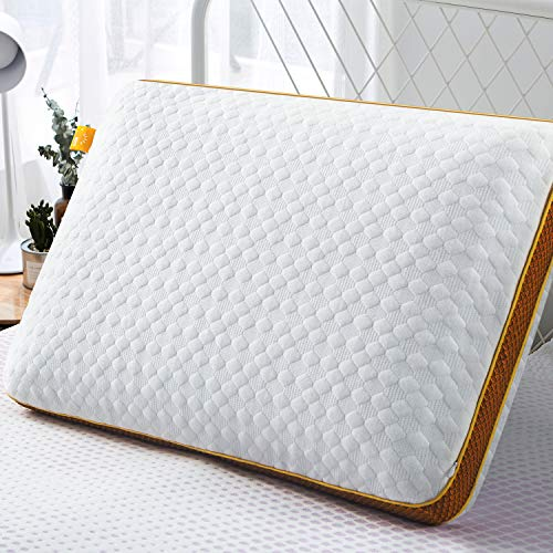 Maxzzz Memory Foam Pillow, Gel Pillow for Sleeping Ventilated Pillow with Zipper Removable Cover for Side and Back Sleepers (24x16x5 Inch)