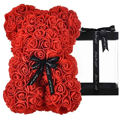 Oso de peluche rosa oso rosas oso rosa oso de rosas flores rosa osito de peluche, regalos para mamá sus mujeres niñas adolescentes madres día de san valentín aniversario - osos rosas con caja (rojo)