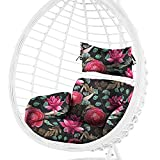 Cojín para sillón colgante de ratán, cojín de jardín, cojín de asiento de palés europeo, cojín de asiento (flores 1, 60 x 50 cm)