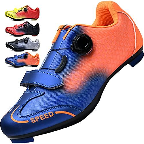 KUXUAN Calzado de Ciclismo para Hombre Mujer Calzado de Peloton Calzado de Bicicleta Spin Shoestring Compatible con SPD y Delta Lock,Blue-5UK=(240mm)=38EU
