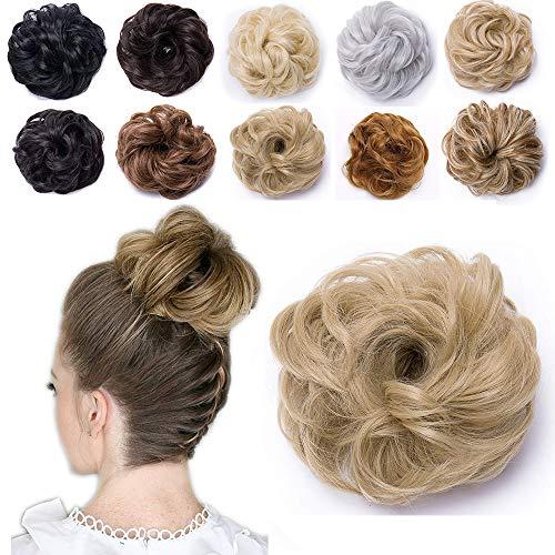 Moño Postizo Rizado con Goma - Grueso y Natural - Coletero Peinado Alto Extensiones de Pelo Sintético para Mujer (40g,Rubio Ceniza)