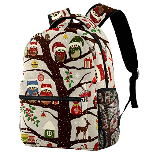Winter Christmas Hat Owl Bird On Tree Backpack School College Bag Bookbag Hiking Travel Rucksack for Women Men