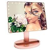 FUNTOUCH Grande Espejo Maquillaje Aumento 1X10X, Espejo Maquillaje con Luz Regulable con 35 Leds , Espejo Tocador Recargable USB y Bateria Disponible Apoyo 180° Rotación (Rosa)